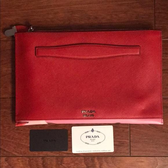 NWT Prada Saffiano Leather Clutch W  Authenticity f063361d828dc